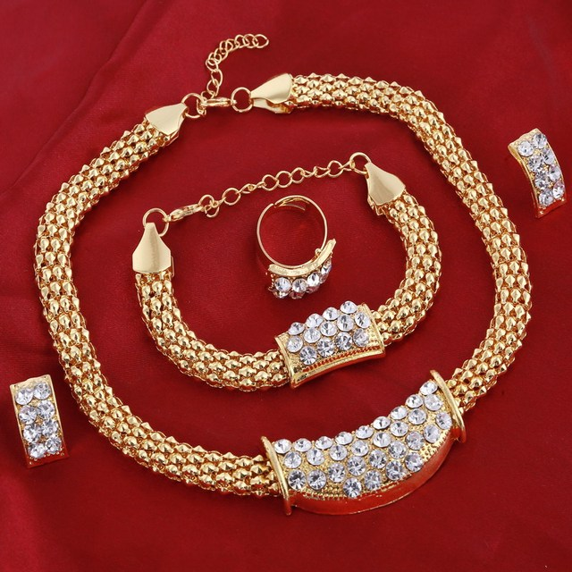 Amazing Price Wedding Gold Jewelry Sets For Women Pendant Statement African Beads Crystal Necklace Earrings Bracelet Rings 2