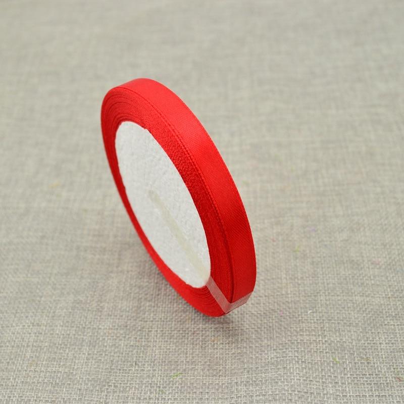 10 мм, 25 ярдов, шелковая атласная лента для свадебного автомобиля, ручная работа, Подарочная коробка для конфет, материалы для украшения, рождественские ленты - Цвет: red