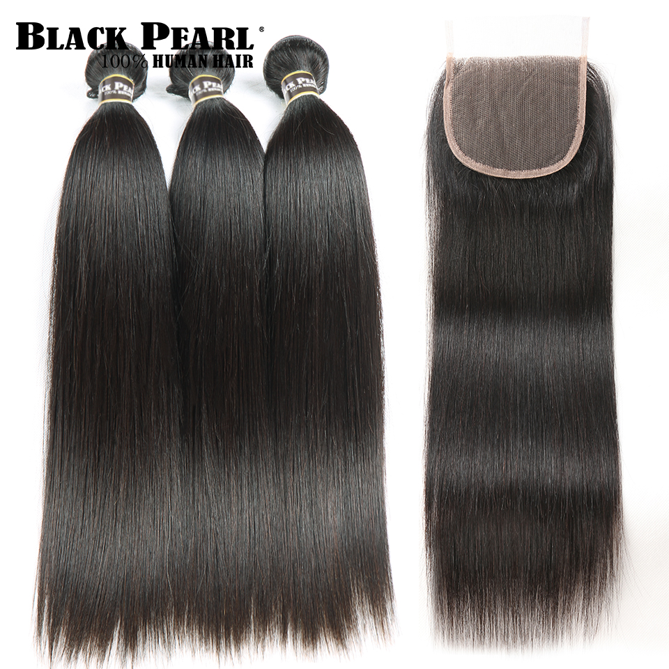 Black Pearl Straight Hair Bundles Med Lukking Non Remy Human Hair 3 - Menneskelig hår (for svart)