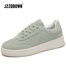 Women casual sneakers shoes 2018 Spring suede leather flats shoes lace up women platform creepers moccasins boat shoes