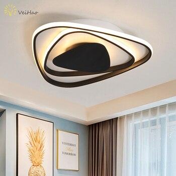 Triângulo preto/branco modern LED lustre sala de estar quarto estudo sala de jantar cozinha decoração do teto interior iluminação lustre