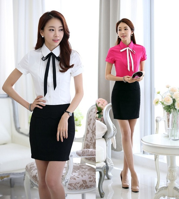 New Novelty Short Sleeve 2015 Summer Uniform Style Business Work Suits Tops And Skirt For Office Ladies Shirts Blouses Set