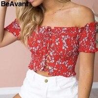 BeAvant Lace up ruching sexy tops tees Off shoulder print tank top ruffle short shirt 2018 Summer white camisole women
