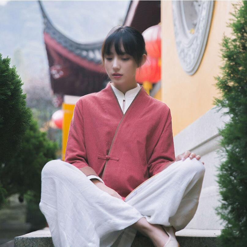 China Cotton Coat womem red Casual dress spring Autumn New Chinese style jacket Zen tea clothing female China wind female coat