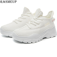 RASMEUP Mesh Breathable Women's Platform Sneakers 2019 Summer Women Chunky Trainers Thick Sole Ladies Footwear Woman Dad Shoes