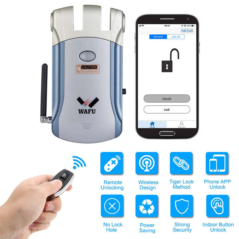 Wafu Keyless Entry Electronic Remote Door Lock Wireless iOS Android APP Unlocking Invisible Intelligent Lock With