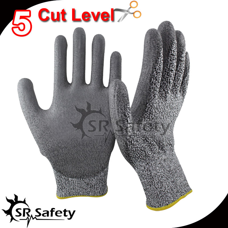 SRSAFETY 6 Pairs Anti-Cut PU Dipping Glove,Cut Resistant Glove,Cut Level 5