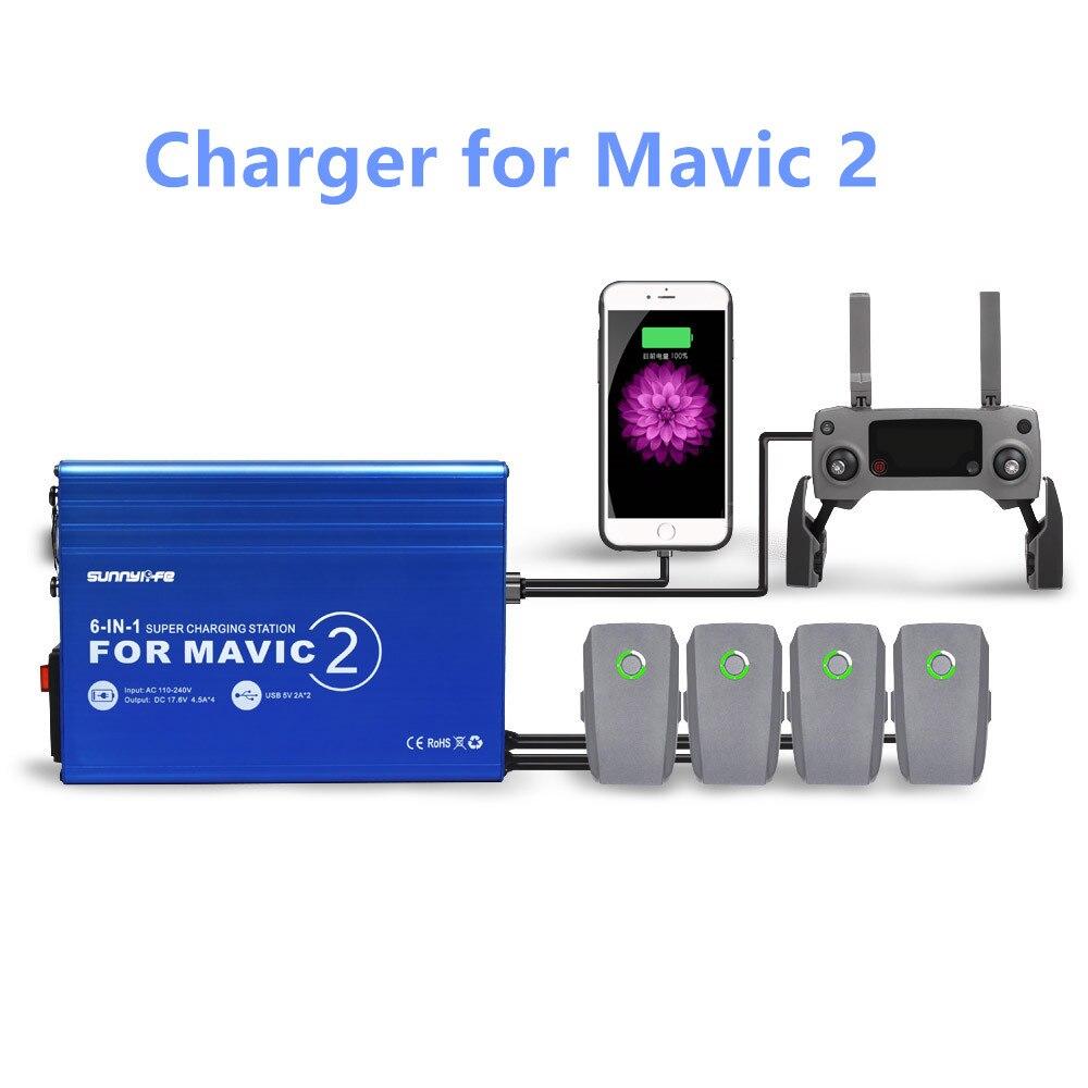 Mavic2 Drone chargeur de batterie 5in1 moyeu de charge pour DJI Mavic 2 Zoom/Pro Drone Intelligent batterie voiture adaptateur de charge