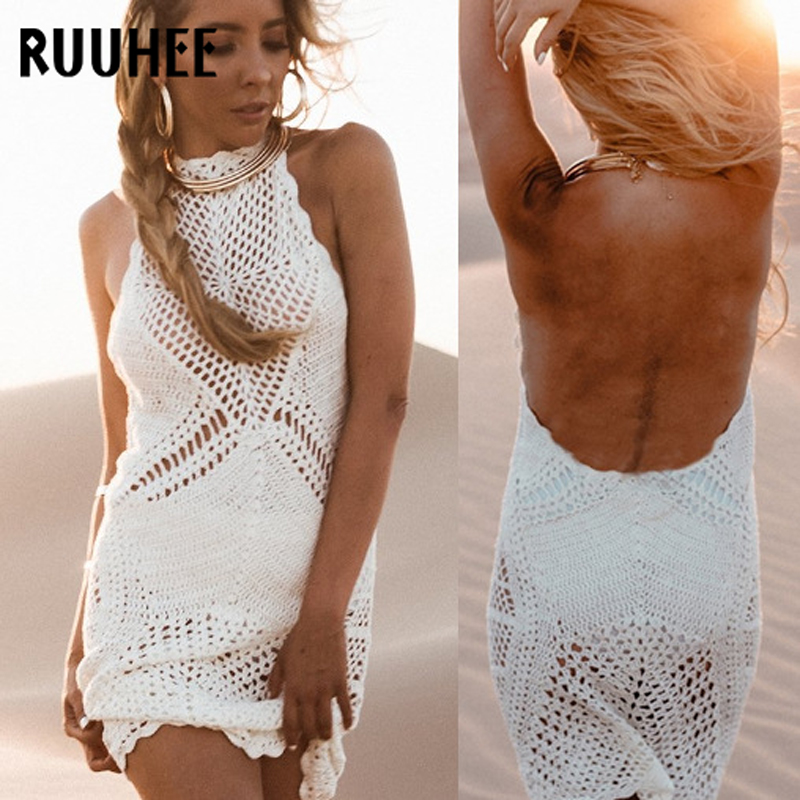 d171b1db6f8cb RUUHEE High Neck Beach Cover Up Bikini Crochet Knitted Beachwear Summer  Swimsuit Halter Cover Up Sexy See through Beach Dress-in Cover-Ups from  Sports ...