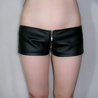 PU Leather Hipster Shorts Female Super Sexy Leather Pants Leather Pants Zipper Bag Hip Pants Fall