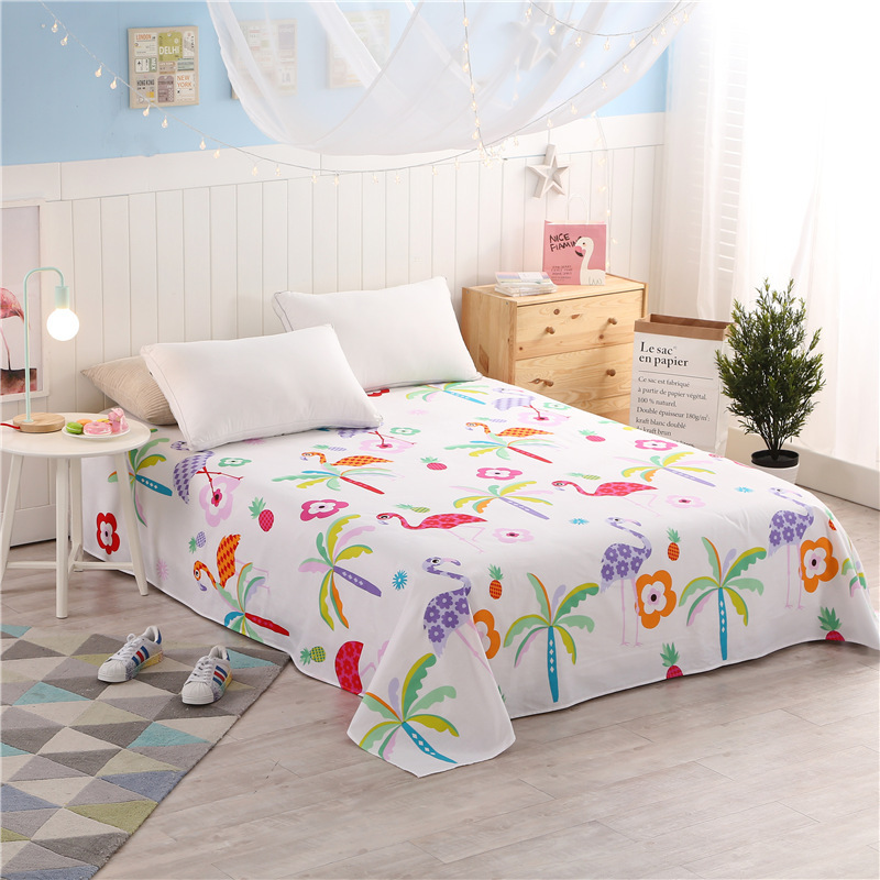 Flamingo Printing 100% Cotton Flat Sheet Twin Full Queen Size Flat Sheet  Bed Sheet, Bedding Bedsheet, Bedclothes Home Textiles In Sheet From Home U0026  Garden ...