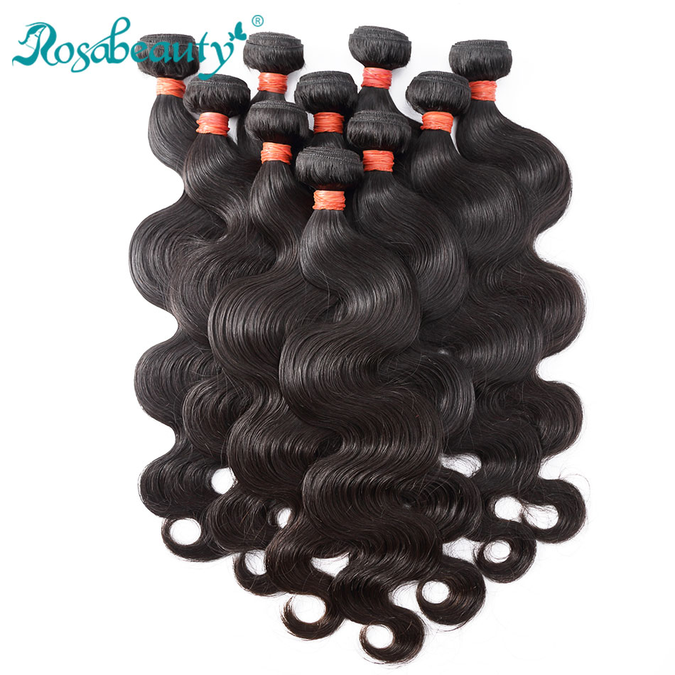 Rosabeauty Products Brazilian Hair Weave Bundles 10Pcs lot Body Wave 100 Human Hair Weaving Natural Color