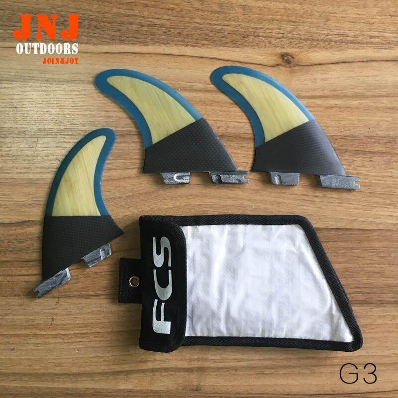 Fit bien carbone et bambou standard planche de surf FCS II S G3 ailettes 3 pcs FCS2 S fin un ensemble avec sac fcs