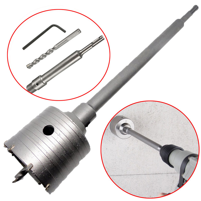 New 1Set 50mm SDS Plus Shank Concrete Cement Stone Wall Hole Saw Drill Bit With 200mm Connecting Rod Wrench square shank concrete stone wall hole saw drill bit 40mm