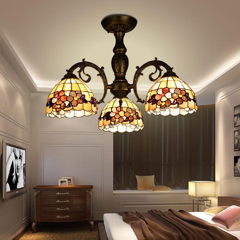 Винтажный потолочный светильник из цинкового сплава, 8 дюймов, в стиле ретро, с 3 раковинами, E27, светодиодный потолочный светильник для гости