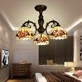 """Vintage Retro Loft 8 """"Zink legierung Decke Licht mit 3 Schalen Made Tiffany Schatten E27 LED Decke Lampe für wohnzimmer-in Deckenleuchten aus Licht & Beleuchtung bei"""