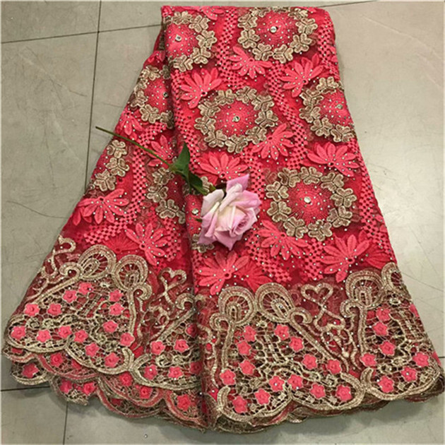 2019 New Designs African Lace Fabric With Big stone African Lace Embroidery Guipure Lace Trim High