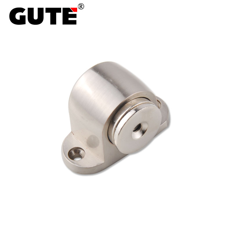 GUTE Magnetic Floor Door Stopper Zinc Alloy Door Catcher Holder Brushed Bedroom Door Stop Protector Screw Installation gute exquisite door stop zinc alloy magnetic strong suction door holder catcher gate floor installation home hardwave page 1 page 1