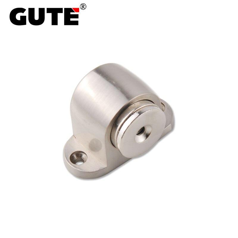 GUTE Magnetic Floor Door Stopper Zinc Alloy Door Catcher Holder Brushed Bedroom Door Stop Protector Screw Installation
