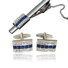 Fashion Luxury Shirt Tie Clips And Cufflinks Brand Blue Gemelos High Quality Abotoaduras Men Jewelry and Clip