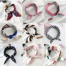 Hair Scarf Tie Animal Print Luxury Satin Small/Square/silk/Neck/Ring/Scarf Winter Head Scarf  For Wome  Neckerchief Fashion 2018