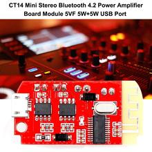 CT14 Micro Bluetooth 4.2 Stereo Power Amplifier Board Module 5VF 5W+5W with USB Charging Port for Refitting Loudspeaker Box
