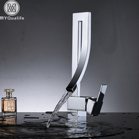 Bright Chrome Bathroom Basin Faucet Brass Deck Mounted Waterfall Mixer Taps Single Handle Hot Cold Water Mixer Tap