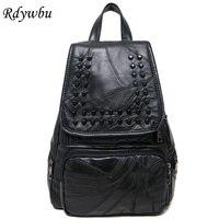 Rdywbu High Quality Punk Genuine Leather Sheepskin Backpacks Bagbag Rivets Decoration Fashion Young Women Backpack For Girl H226