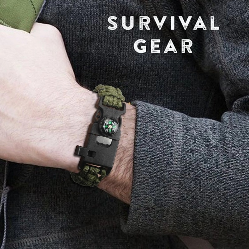 Outdoor Survival Wristband Bracelet Braided Paracord Multi-function Camping Tools Rescue Emergency Rope Compass Whistle Knife