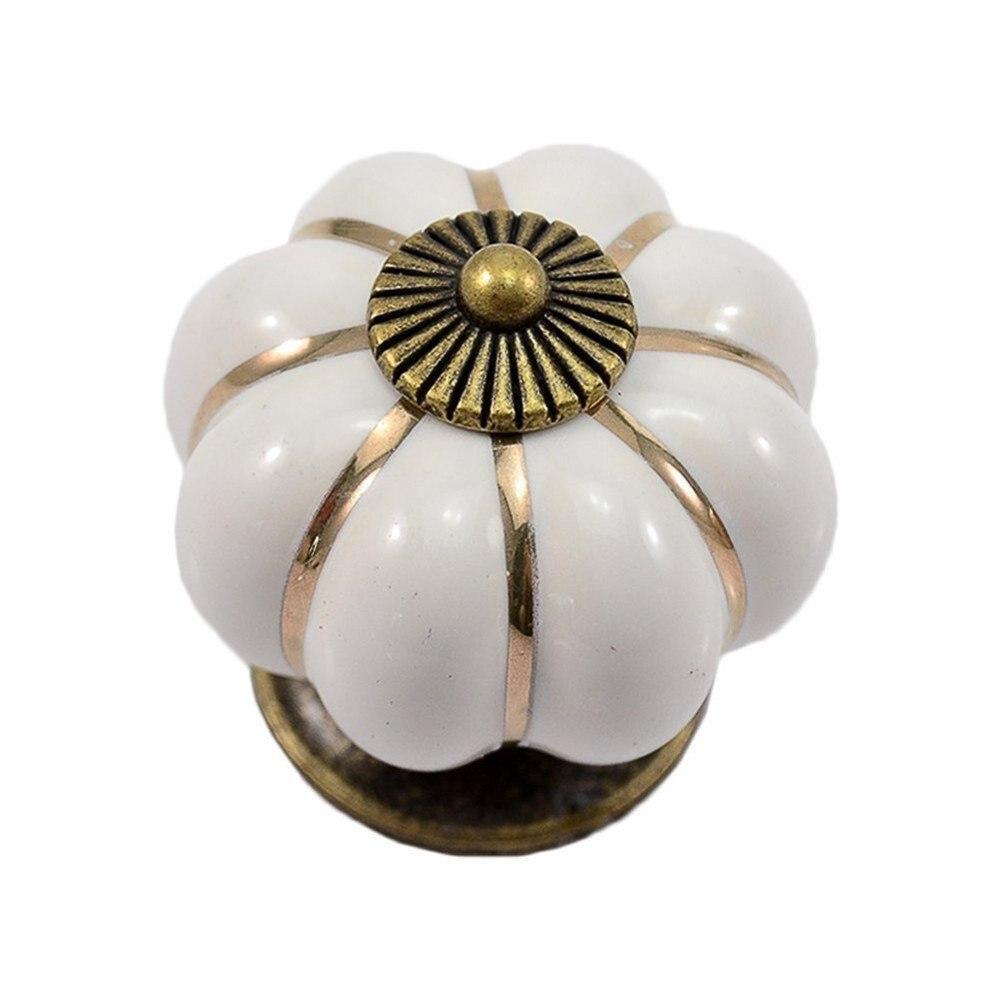 CNIM Hot 12Pcs Pumpkin Zinc Ceramic Door Knobs Drawer Pull Handle Kitchen Cabinet Cupboard Wardrobe White