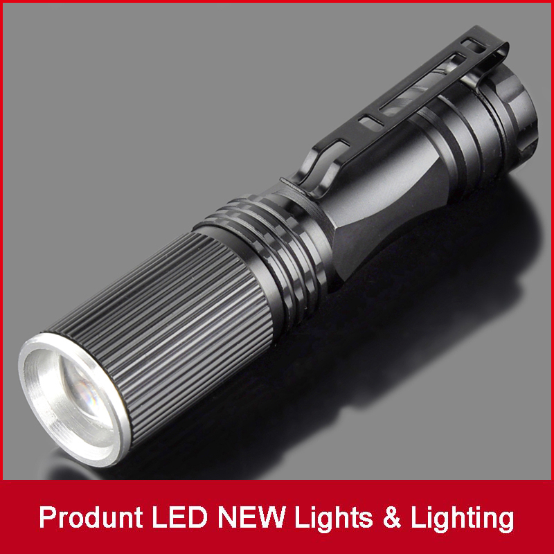 CREE LED Flashlight Mini Black CREE 2000LM Waterproof Q5 LED Flashlight Zoomable LED Torch Penlight Flashlight
