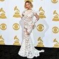 Ver Através de Vestidos de Baile Sexy Beyonce Colher Backless Full Lace Trumpet/Sereia Celebrity Dress Desgaste da Noite Elegante Vestidos 2016
