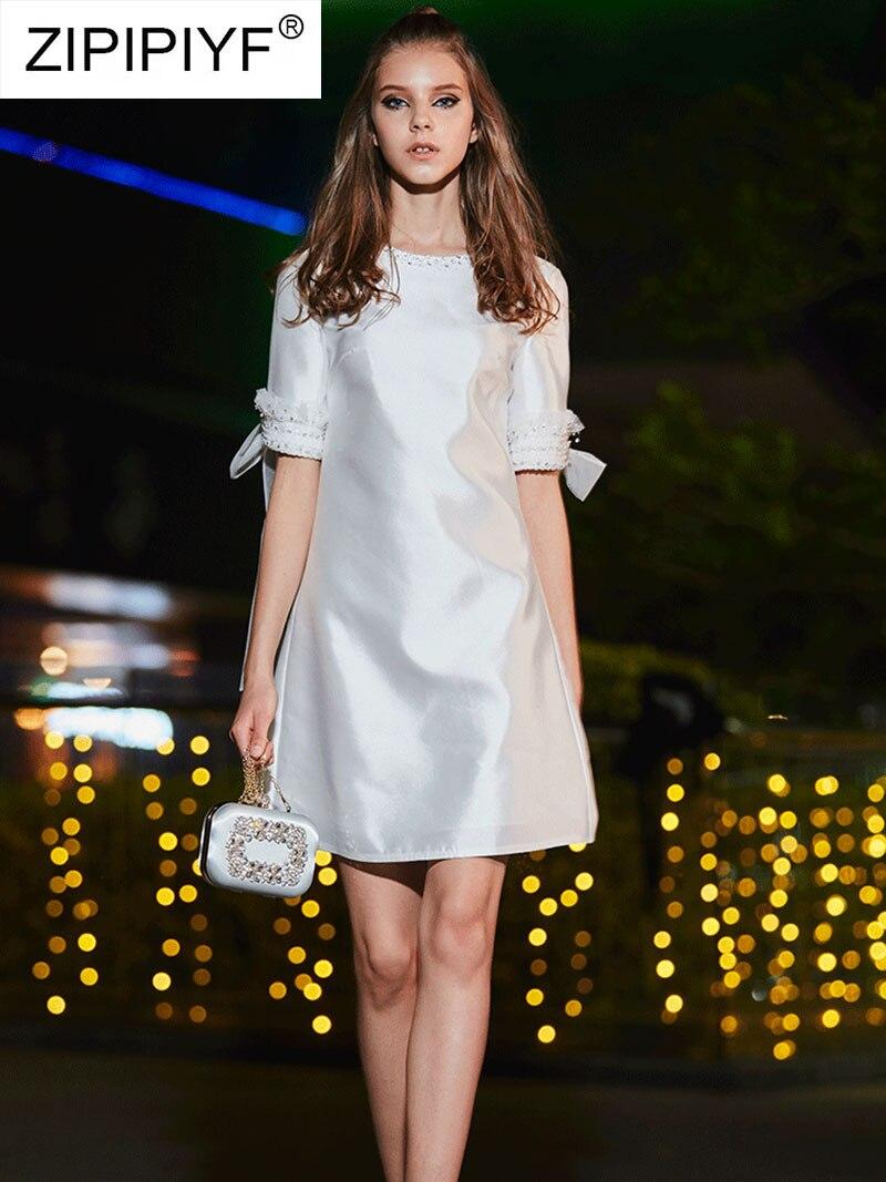 Élégant De ligne Solide D'été 2019 Manches Féminine Robe Q100 Mode Demi O Femmes A Printemps Mini Robes Partie Cou wEFxqtaS