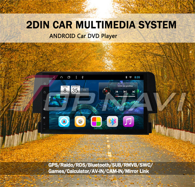 2 din android car radio For Honda Civic 2016