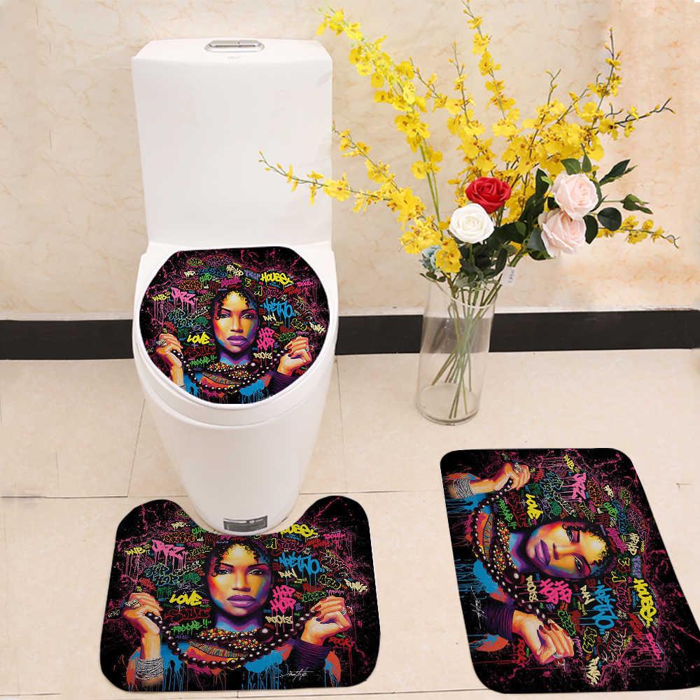 Miracille الفني أفريقيا النساء ستارة استحمام مطبوعة مجموعة البوليستر ستارة حمام مع الحمام طقم سجادة/ حصيرة الاتحاد الأوروبي صورة