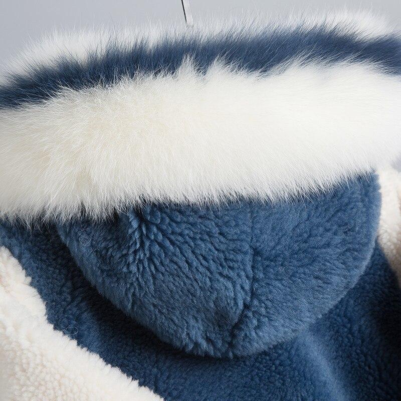 Hiver Mujer Réel Abrigo De Outwear Lwl1188 Manteau Chaud Tcyeek Veste Pardessus Des 2019 Tonte Fourrure Long Renard Moutons Femmes Blue nOkwP08X