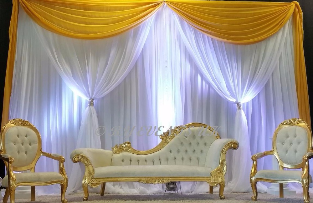 10ft H 20ft W Yellow White Wedding Backdrop Stage Curtain With