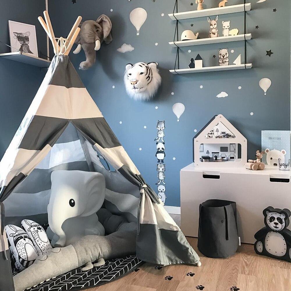 Enfants Tipi Jouer Tente-100% Coton Toile Gris Bande Enfants Tipi Playhouse avec Tapis Intérieur Extérieur Jouet Garçons Filles bébé Cadeau