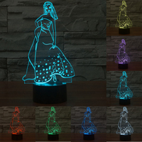 Novelty Gifts 7 Colors Changing Princess with Skirt touch sensor USB led nightlight 3D Bulb Lamp as Bedroom Decoration IY803526