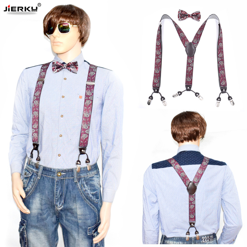JIERKU Suspenders with Bow Tie Mans Braces 6 Clips Suspensorio Fashion Trousers Strap Father/Husbands Gift 3.5*120cm