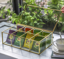NCYP Modern 8 Grids Glass Tea Box Kitchen Organizer Transparent Top Lid Coffee Bags Container Storage Case Square Gift