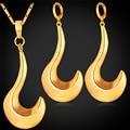 Chapado En oro Aretes Y Collar Colgante Conjunto Hoz Saturno Moda Dubai Joyas de Oro Set PE1134