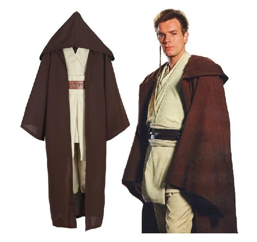 free shipping Star Wars Costume Jedi Cloak Tops Pants Cosplay Men Suit Movie Cosplay Costumes Star Wars Full Costume M 2XL