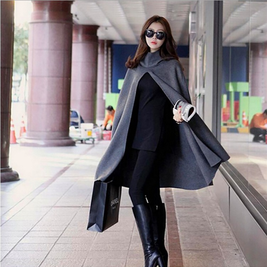 Hooded Ponchos And Capes 2018 Winter Long Cloak Batwing Turtleneck Poncho Coat Irregular Open Stitch Capas Mujer Elegantes g|  - title=