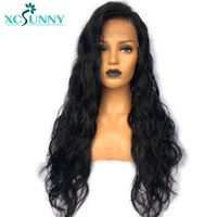 Предварительно сорванные бесклеевые полностью кружевные человеческие волосы парики с волосами младенца натуральные черные индийские вол