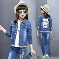 Girl Denim Suit Spring and Autumn Hot Children Suit Girls Cotton Print Cartoon Beauty Suit Worn Washed Three Piece Denim Suit