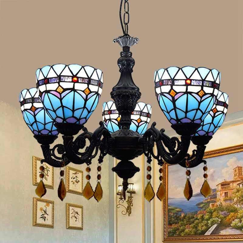 Европейский современный Tiffany из цветного стекла средиземноморский синий ресторан кафе бар Гостиная 5 люстры