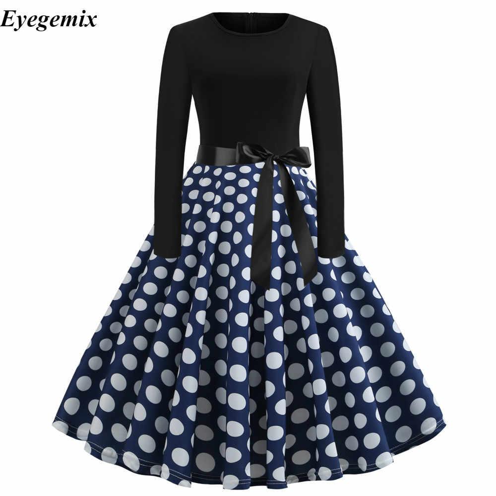 Plus size feminino vestidos retro primavera outono casual polka dot vestido 50s 60s vestidos vintage feminino festa de fiesta