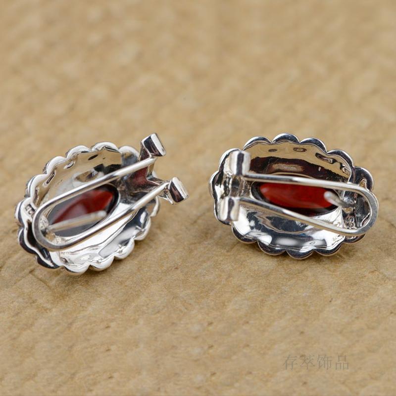 Argent Thai argent incrusté rouge Zircon boucles d'oreilles oreille clip rétro antique femme tempérament all-match elliptique section - 4