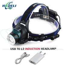IR Sensor led Headlamp CREE XML L2 Induction Head light Micro USB Rechargeable headlight Lantern Flashlight Head Torch18650